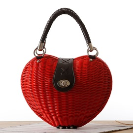 Ericdress Sweet Heart Shape Straw Handbag