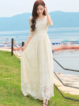 Ericdress Sweet Lace Patchwork Chiffon Maxi Dress