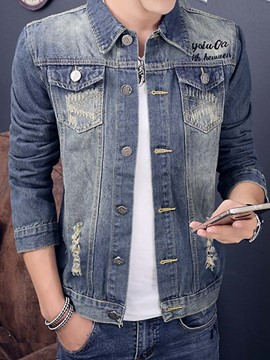 Ericdress Patchwork Denim Casual Men's Jacket