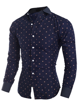 Ericdress Long Sleeve Print Slim Fit Men's Shirt