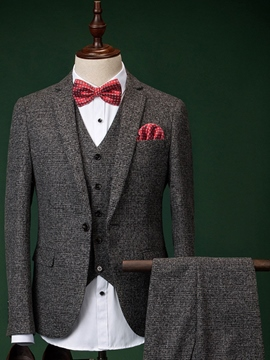 Ericdres Gray Elegant Three-Piece of Men's Suit