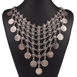 Ericdress Coin Tassels E-Plating Necklace