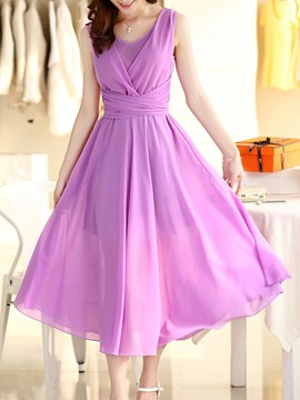 Ericdress Elegant Pleated Chiffon Maxi Dress