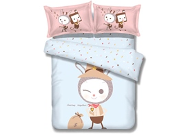 Ericdress Cute Cartoon Rabbit Print Bedding Sets
