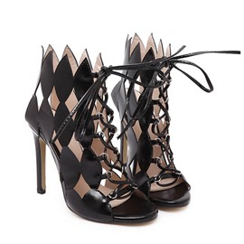 Ericdress Black Roman Hollow Out Stiletto Sandals