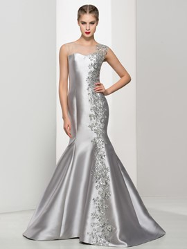 Ericdress Trumpet Sheer Neck Appliques Sequins Evening Dress