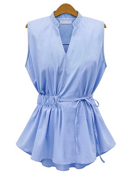 Ericdress Solid Color Slim Pleated Blouse