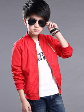 Ericdress Candy Color Zipper Boys Jacket