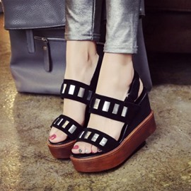 Ericdress Black Sequins Velcro Wedge Sandals
