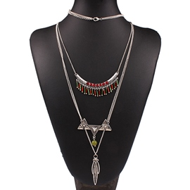 Ericdress Multilayer Metal Leaf Pendant Necklace
