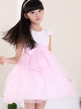 Ericdress Bowknot Mesh Patchwork Girls Dress