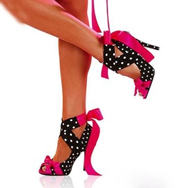 Ericdress Special Polka Dots Cross Strap Stiletto Sandals