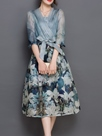 Ericdress Flower Print Bowknot Patchwork Maxi Dress