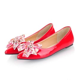 Ericdress Point Toe Floral Bowtie Flats