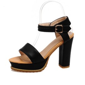Ericdress Black PU Chunky Sandals