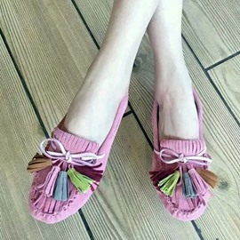 Ericdress Suede Colorful Tassels Flats
