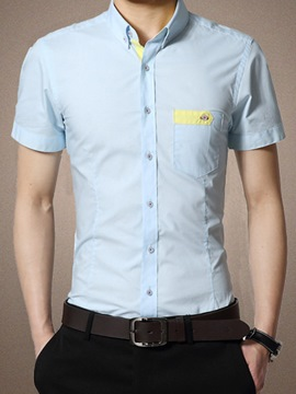 Ericdress Patchwork Short Sleeve Pocket Men's Shirt