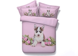 Ericdress Lovely Husky And Rose Digital Print Bedding Sets