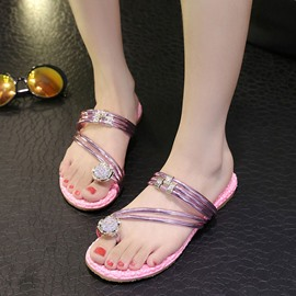 Ericdress Korean Rhinestone Beach Slippers