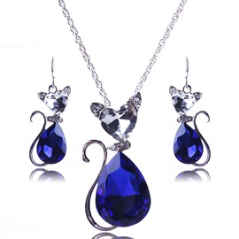 Ericdress Lovely Cat Crystal Jewelry Set