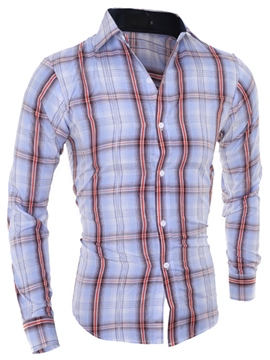 Ericdress Plaid Slim Casual Men's Shirt