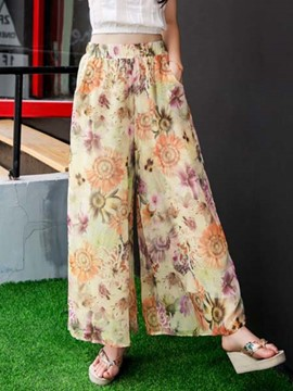 Ericdress Wide Legs Printed Casual Pants