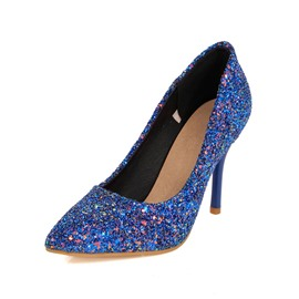 Ericdress Sequins Stiletto Heel Slip-On Pumps