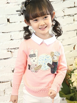 Ericdress Lapel Girls Sweater