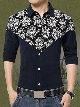 Ericdress Large Size Corduroy Print Men's Shirt
