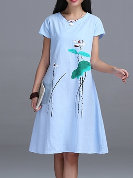 Ericdress Print A-Line Short Sleeve Casual Dress