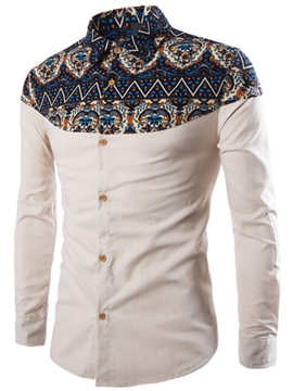 Ericdress Ethnic Style Print Long Sleeve Casual Men's Shirt