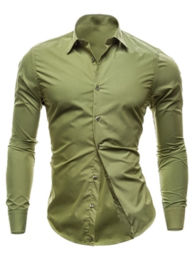 Ericdress Solid Color Slim Men's Shirt
