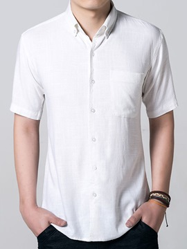 Ericdress Solid Color Casual Linen Men's Shirt