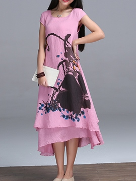 Ericdress Double-Layer Print Short Sleeve Maxi Dress