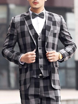 Ericdress Color Block Plaid Three-Piece of Men's Suit