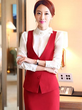 Ericdress Solid Color Asymmetric Blazer