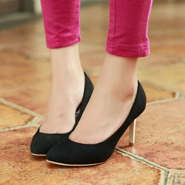 Ericdress Simple Suede Mid Heel Pumps
