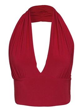 Ericdress Solid Color V-Neck Halter Vest