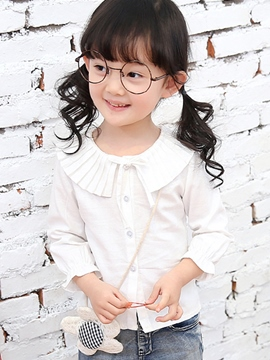 Ericdress Plain Lapel Girls Shirt