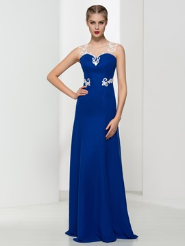 Ericdress Sheer Neck Appliques Evening Dress