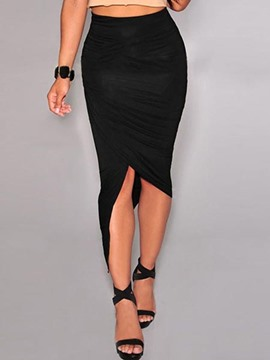 Ericdress Asymmetric Plain bodycon Skirt