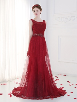 Ericdress Bateau Neck Beading Lace Evening Dress