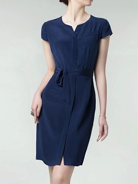 Ericdress Plain Belt Short Sleeve Casual Dress