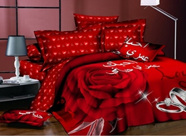 Ericdress Rose And Ring Print Wedding Bedding Sets