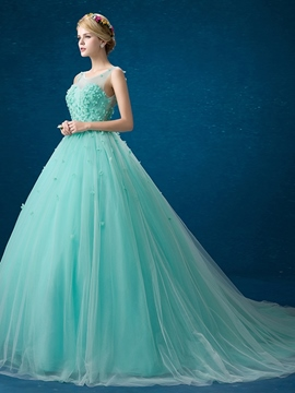 Ericdress Scoop Neck Ball Gown Flowers Court Train Quinceanera Dress
