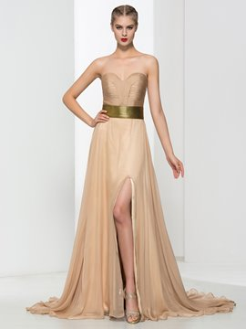 Ericdress A-Line Beading Pleats Split-Front Evening Dress
