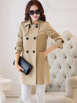 Ericdress Straight Double-Breasted Coat