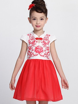 Ericdress Ethnic Print Girls Dress