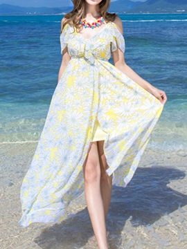 Ericdress Boho Floral Split Off-the-Shoulder Maxi Dress