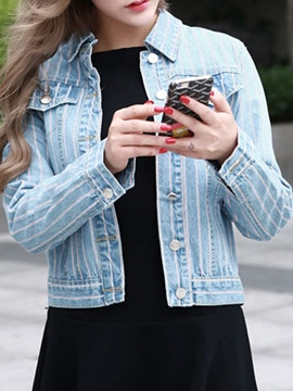 Ericdress Casual Stripe Denim Jacket